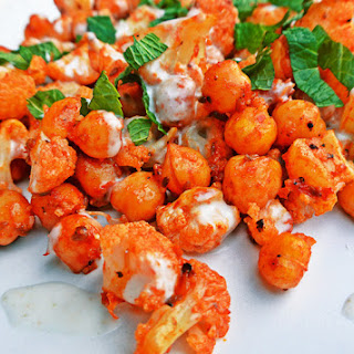 Harissa Roasted Cauliflower and Chickpeas with Coconut Sauce