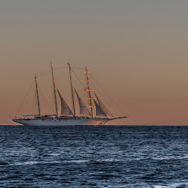 sailing to the night by Marjan Gresl - Transportation Boats ( sailing, water, sea, boat )