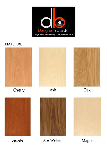Natural Wood Samples for Pool Tables