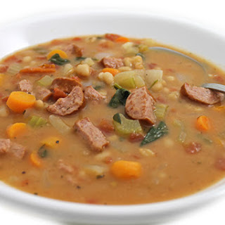 Navy Bean, Spinach and Kielbasa Soup.