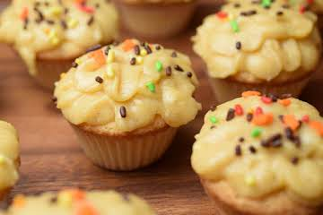 Sugar Cookie Cupcakes with Pumpkin Frosting