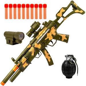 Arma interactiva pentru copii, Mitraliera cu luneta, sunete, 3 ani+