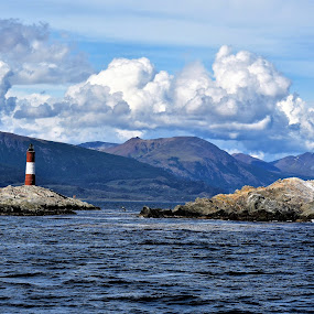Blue Mountains and a Lighthouse in the Beagle Channel, Argentina by Sheri Fresonke Harper - Landscapes Waterscapes ( argentina, mountains, beagle channel, blue, lighthouse, islands, ocean,  )