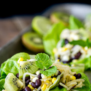 Jicama, Kiwi, Corn, and Black Bean Lettuce Wraps with Honey Mint Vinaigrette