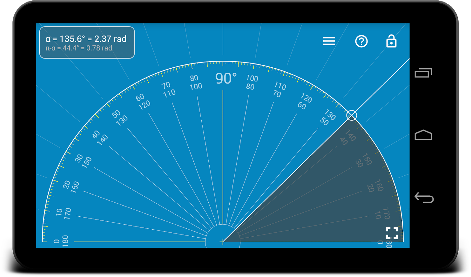 Millimeter Pro - ruler and protractor on screen- screenshot