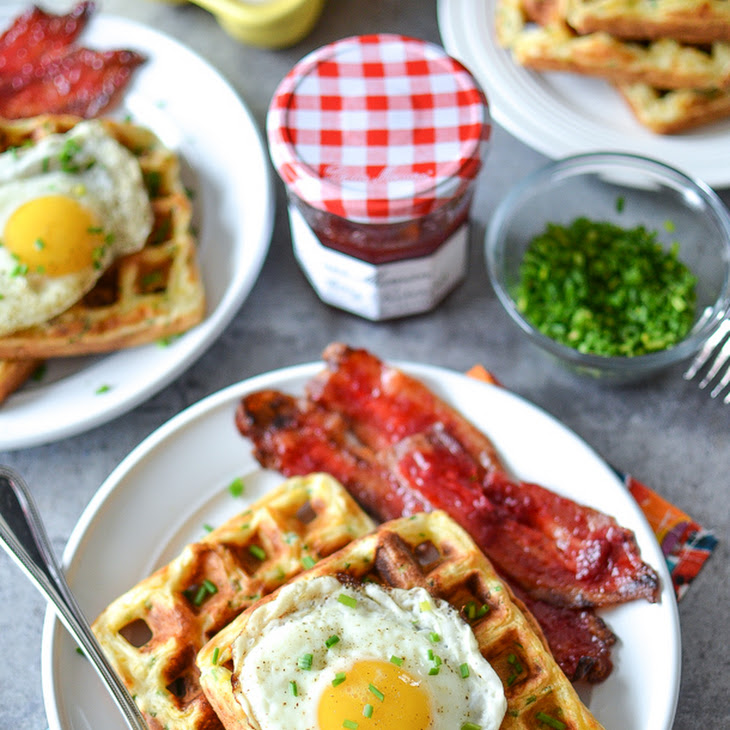 Cheddar Chive Waffles & Eggs with Strawberry Candied Bacon