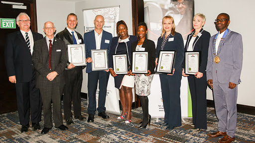 From left: Tony Parry, CEO of the IITPSA; professor Pete Janse van Vuuren, head of the CIO Council of SA; Renier van der Merwe of Premier Foods; Martin Coetsee of DRA Global; Tshifhiwa Ramuthaga of Barloworld; Yolisa Skwintshi of Absa and Visionary CIO finalist; Louise van der Bank of AfriSam; Amanda Maritz of Essilor; and Thabo Mashegoane, IITPSA's new president.