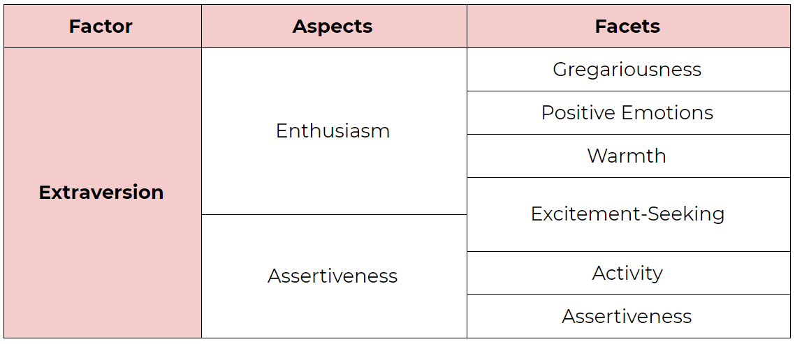 The Extraversion factor in the Big Five Personality Model. Its aspects are Enthusiasm and Assertiveness. Its facets are Gregariousness, Positive Emotions, Warmth, Excitement-Seeking, Activity, and Assertiveness.