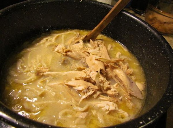 Test your noodles, they should be done in about 15 minutes.Add your chicken pieces.
