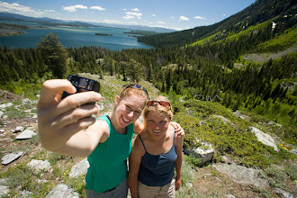 Photo: Two young women posing for self portrait while hiking near Jackson Lake. Grand Teton NP, WY