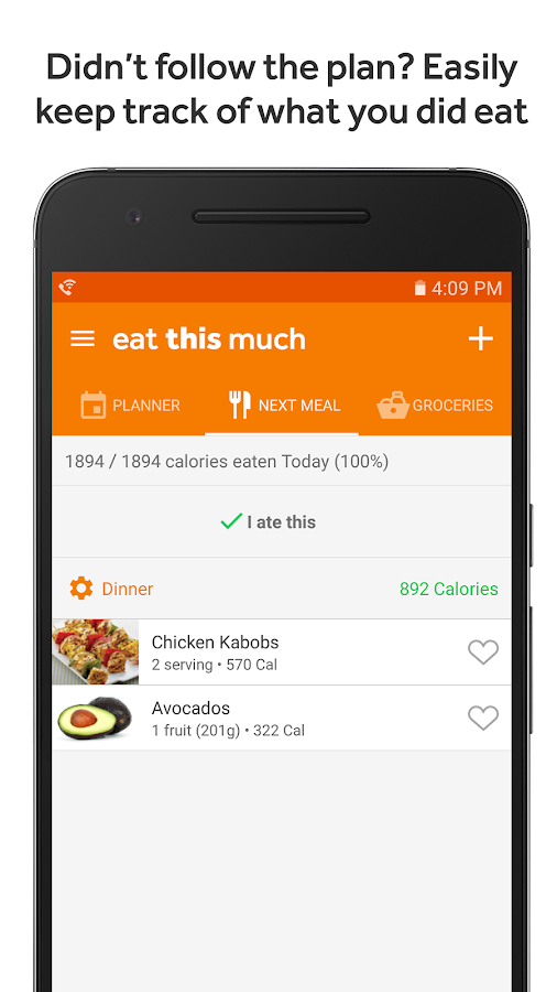 Eat This Much - Meal Planner- screenshot
