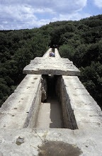 Photo: The aqueduct channel on top of the Pont du Gard (untill the 80's open to the public)