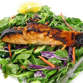 Asian Style Teriyaki Salmon Spinach Salad