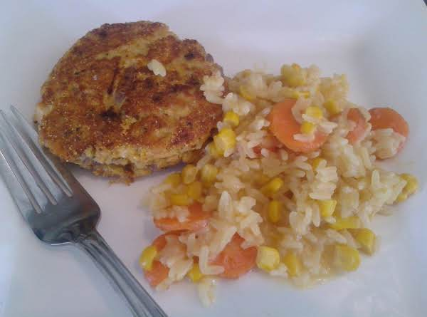 Fried Salmon With Vegetable Rice Recipe
