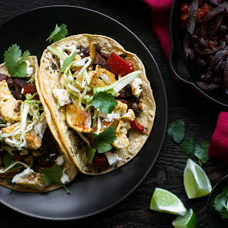 Tacos With Lime-roasted Cauliflower And Black Beans.
