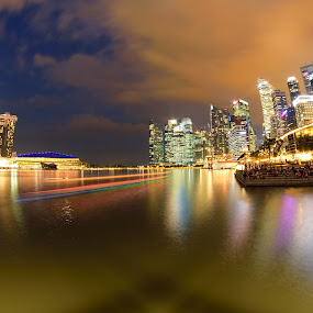 Singapore City at Night by Saiful N. Firmansyah - City,  Street & Park  Night ( cityscapes, light trail, reflection, building, reflections, office building, cityscape, rivers, singapore, singapore river, city, lights, riverside, buildings, light trails, city lights, city light, long exposure, slow speed, light, river )