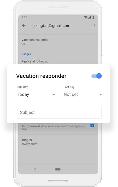 "A Google phone screen that shows Vacation responder getting turned on to work from ""Today"" to ""Not Set."""
