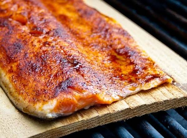Cedar Plank Smoked Wild Salmon With A Sweet & Spicy Dry Rub...
