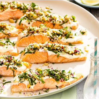 Salmon With Macadamia Herb Crumb 