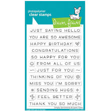 Lawn Fawn Clear Stamps 4X6 - Simply Sentiments