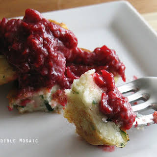 Garlicky Mashed Potato Cakes with Raspberry Ginger Mustard Chutney.