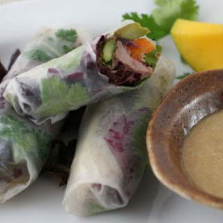 Healthy Spring Rolls With Peanut Sauce.