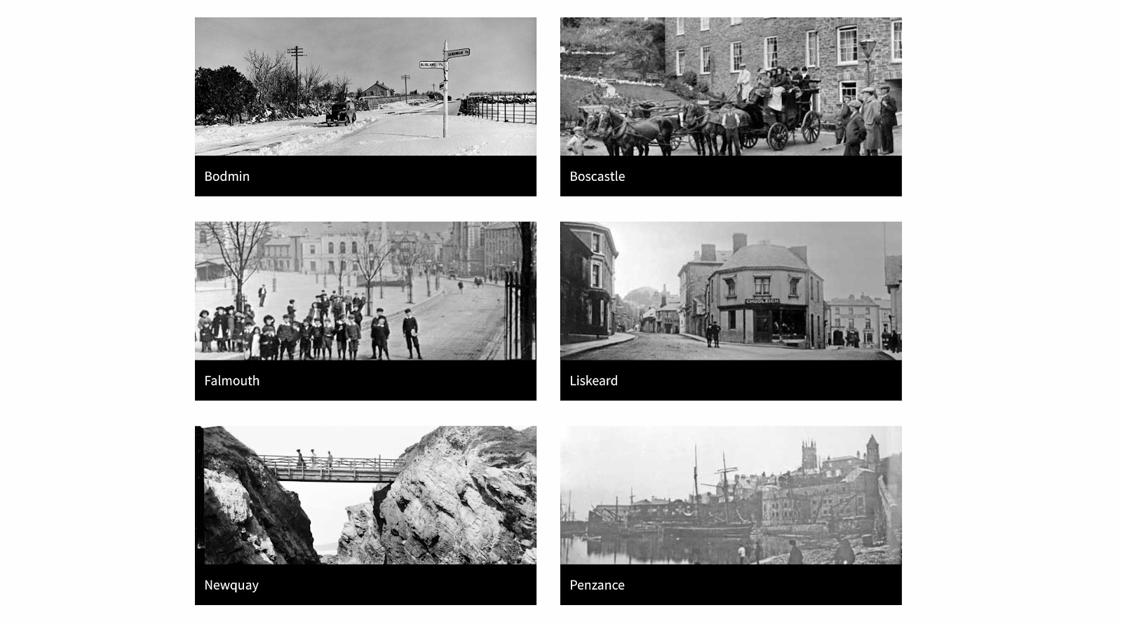 A grid of black and white images depicting places in Cornwall