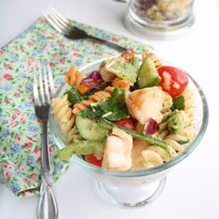 Shrimp Avocado and Pasta Salad.