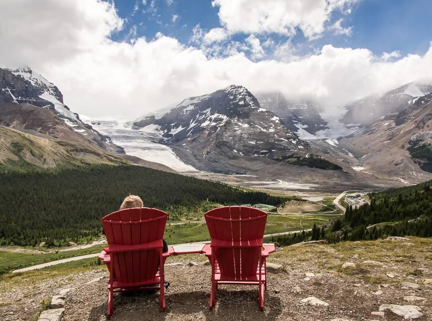 A Parks Canada red chair moment on the Wilcox Pass hike