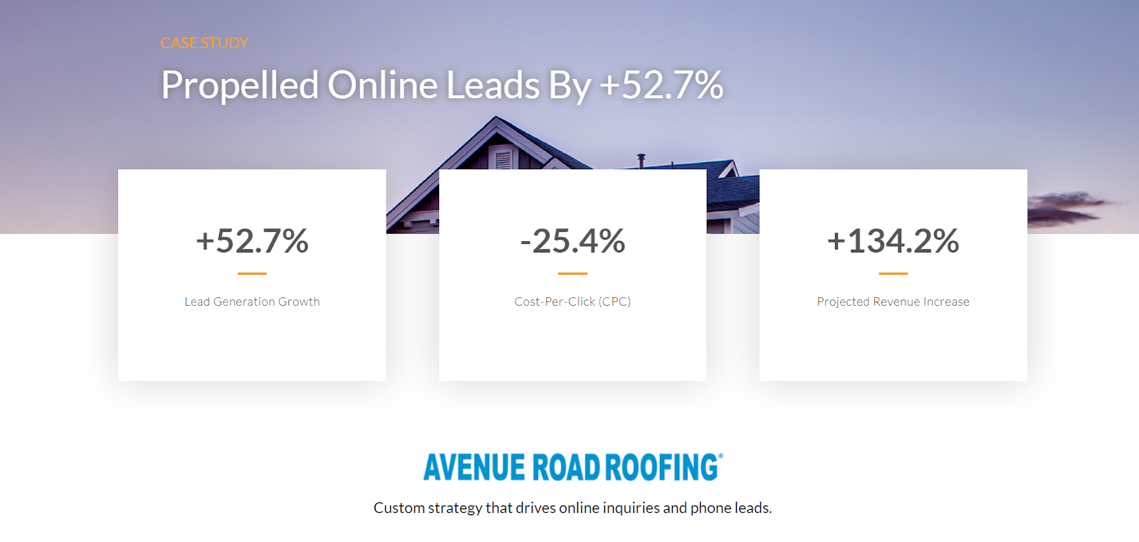 Case study of our work to improve lead generation and revenue for Avenue Road Roofing