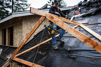 Photo: I calculated and precut the valley sleepers, ridge and rafters.  And it worked!