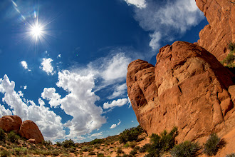 Photo: Blue, Red and The Sun this is why I love fisheye  - point it up (or down) and you'll get some unusual shot:-) this is Arches national park This is the lens: http://goo.gl/EMWPM1 Enjoy + Share = Love for all :-)
