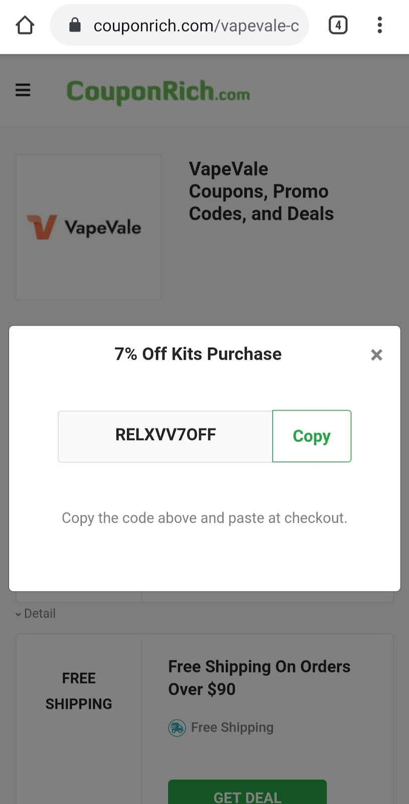 VapeVale discount code at Couponrich