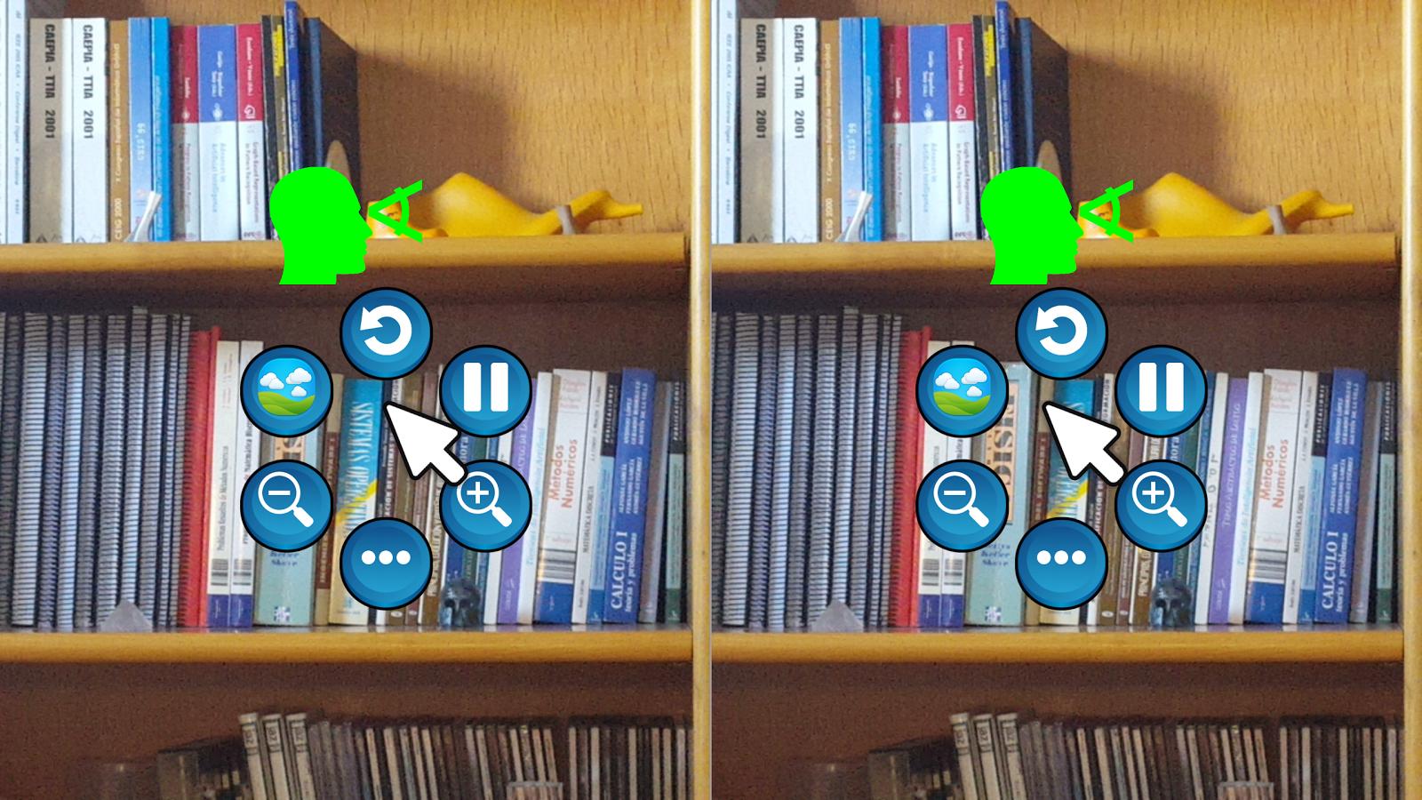 Pantalla del móvil en horizontal dividida en dos partes, una para cada ojo, mostrando un ejemplo de utilización y controles de manejo