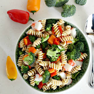 Quick and Easy Broccoli Pasta Seafood Salad.