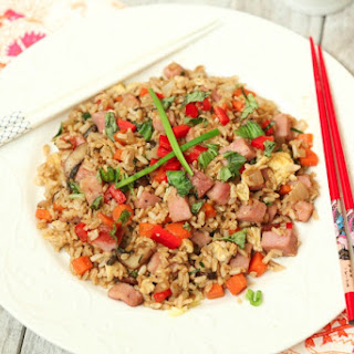 Black Pepper Fried Brown Rice with Ham #SundaySupper
