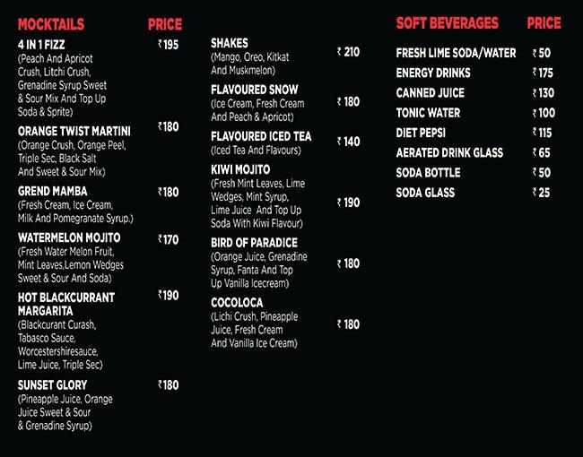 Trap Lounge menu 1