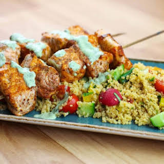 Low Syn Cumin Dusted Salmon Skewers with Moroccan Style Cous Cous.