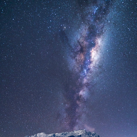 Snowy Mountain by Clive Wright - Landscapes Starscapes ( milky way, mountains, snow, night, dark, stars )