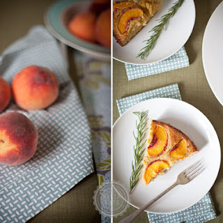 Cornmeal Cake with Peaches + Rosemary