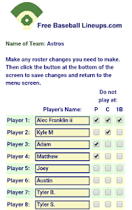 Free Baseball Lineups.com screenshot 3