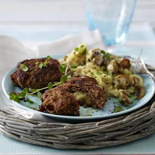 Mozzarella Stuffed Meatballs with Mushroom Risotto.