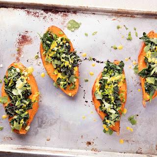 Stuffed Sweet Potatoes Get a Big Upgrade With Avocado and Tahini-Turmeric Dressing
