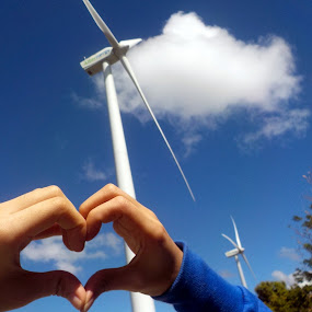Windmills and friendship by Victoria Gonzales - Uncategorized All Uncategorized ( #windmills #sky #heart #friendship #clouds #blue,  )