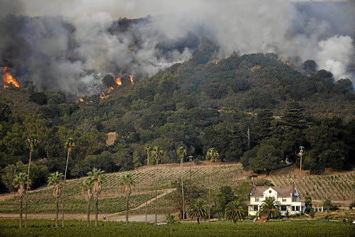 Flames burn on a hillside near Napa Road in Sonoma, California, on October 9 2017. Picture: REUTERS