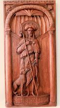 Photo: ''San Roque''. Es el patrón del pueblo donde nació el autor. Esta imagen actualmente se encuentra en la iglesia del lugar ya que fue donada por el artista en 1994. Tamaño: 130 x 70 cm. || Talla en madera. Woodcarving.   Puedes conocer más de este artista en el blog: http://tallaenmadera-woodcarving-esculturas.blogspot.com/