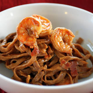 Shrimp Carbonara with Chili Pepper Tagliatelle.