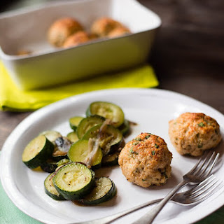 Healthy Chicken Meatballs With Sautéed Zucchini.