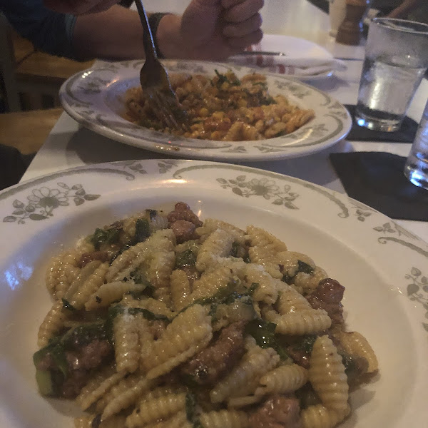 Two gluten free pastas! Get the sausage one, seriously. Just do it!