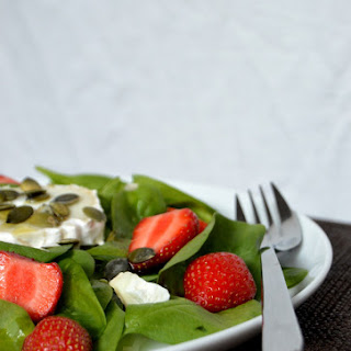 Spinach & Strawberry Salad with Goat Cheese and a Lemon Poppy Seed Dressing.